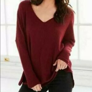 Urban Outfitters Out From Under Oversized Cozy Thermal Waffle Top Maroon Medium